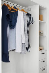 Apartment wardrobe with hanging clothes